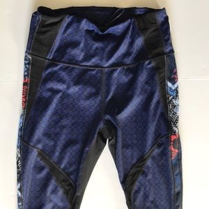 Athelta Leggings Print Side Panel Mesh M Blue Blk